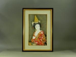 小川雨虹 娘道成寺(美人画)M10 日本画