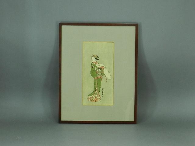 13-DSCN5742鳥居清満 扇子を持った美人 木版画 額装(専用箱)浮世絵