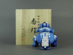 深川製磁 染付 七宝 福寿(宝尽図)香炉