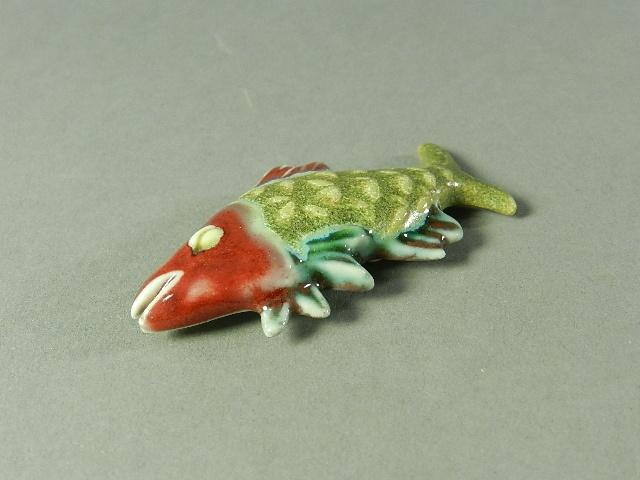 DSCN1123作者不詳 在銘 陶器製 魚型 帯留 和装小物
