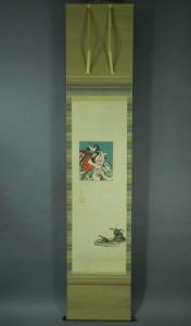 10-DSCN7027鳥居清忠 歌舞伎図 日本画 絹本 軸装(時代桐箱)浮世絵-01