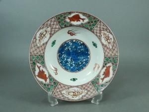 06-DSCN4053中国 時代 赤絵 鳳凰 魚海老絵 皿(専用箱)大明成化年製