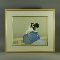 上村松園 待月(美人画)木版画