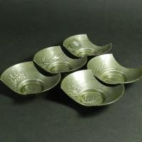 古錫 乾茂號造 五清図(四君子)絵変 分銅型 茶托