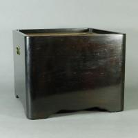 時代 唐木製 角型 瓶掛(火鉢 手焙)紫檀 黒檀 煎茶 中国古玩