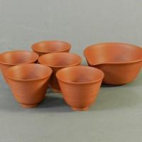 山田常山(三代)常滑焼 朱泥 煎茶碗(5客)湯冷一式