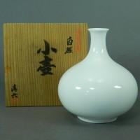 中村清六 白磁 小壺(花瓶)共箱 栞付(高麗庵)日本伝統工芸展