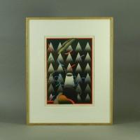 黒崎彰 月蝕(抽象画)木版画