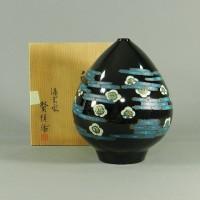 佐々木賢悦 黒塗 白梅紋様 彫漆細工 飾花瓶