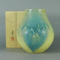 谷口良三 碧釉花瓶(共箱)日展 現代陶芸展 北斗賞