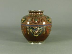 08-DSCN1170七宝製 細密細工 古代地紋様 花瓶 純銀刻印(桐箱)