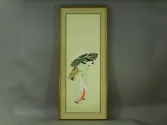 上村松園 初雪(美人図)リトグラフ 額装(専用箱)特大版帝室技芸員-01