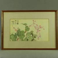 小室翠雲 秋海棠 日本画 絹本