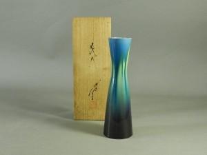 43-DSCN9472三代徳田八十吉 彩釉 花入(共箱)人間国宝 無形文化財