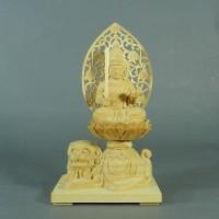 葉萌春 文殊菩薩座像(坐像)置物 木彫
