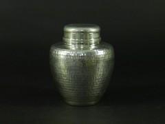 04-DSCN5617本錫 錫半製 打出鎚目模様 茶壺(共箱 栞付)煎茶 烏龍茶