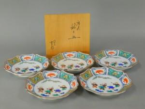 九谷焼 青郊 色絵 唐子紋 輪花型 銘々皿(5枚)共箱