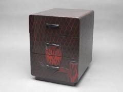 鎌倉彫 梟(フクロウ)模様 三段 小引出