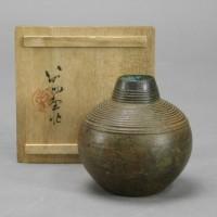 佐々木象堂 鋳銅 蝋型鋳銅 線紋様 花瓶