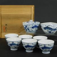 三浦竹軒 京焼 青華(染付)魚藻図 煎茶器一式(茶器揃)宝瓶 湯冷 茶碗(6客)