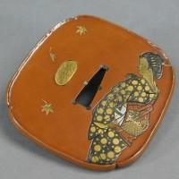 不老庵 守平在銘 銅鍔 銅鐔 彫金象嵌細工 美人 鹿紅葉図