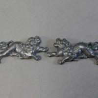 目貫 唐獅子(一対)細密彫刻