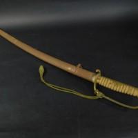 旧日本軍(大日本帝国)サーベル 指揮刀 儀礼刀 軍刀拵 鉄地鞘 鮫研出柄